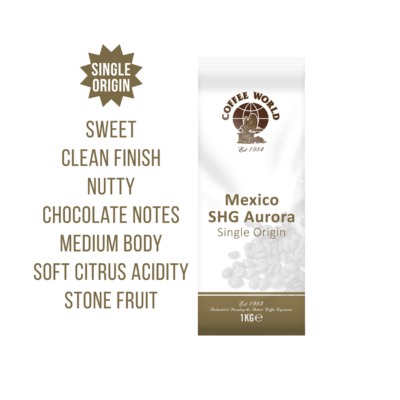 Mexico SHG Aurora Single Origin 1kg Coffee Beans - by Coffee World