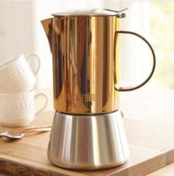 La Cafetiere 4 Cup Stainless Steel Copper Chrome & Brushed Stovetop