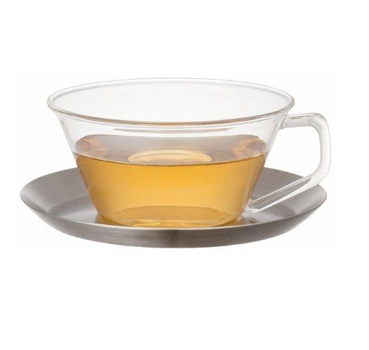 a32b4af5de0 Kinto Cast Tea Cup & Saucer Stainless Steel